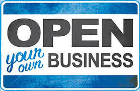 image with text open your own business blue in color